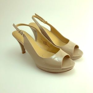 None West Nude Slingback Patent Leather Heels